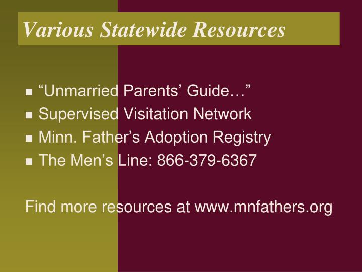 Various Statewide Resources