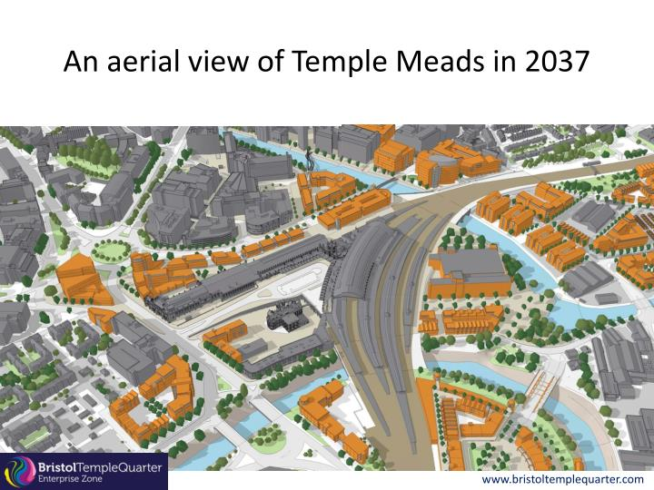 An aerial view of Temple Meads in 2037