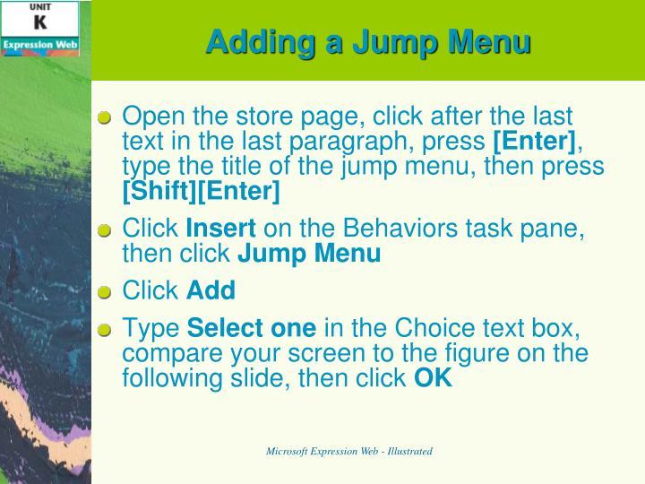 Adding a Jump Menu