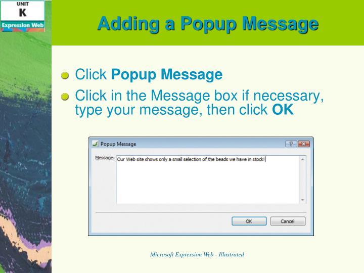 Adding a Popup Message