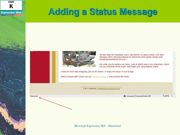 Adding a Status Message