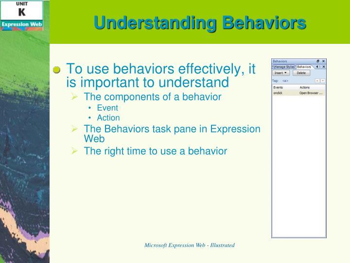 Understanding Behaviors