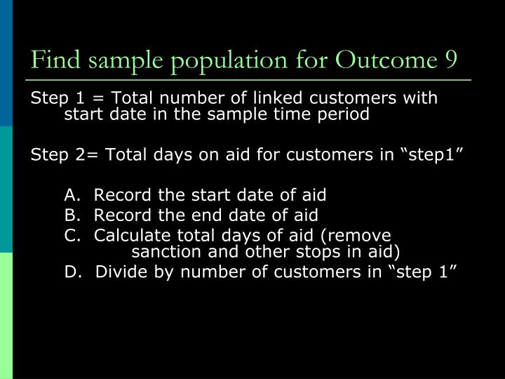 Find sample population for Outcome 9