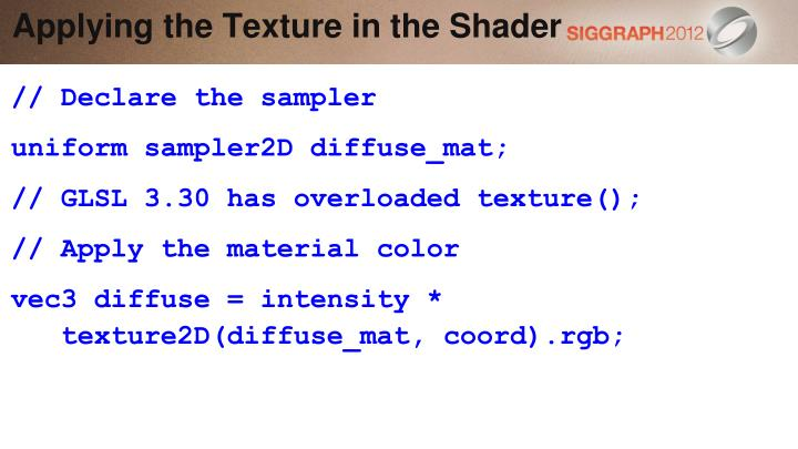 Applying the Texture in the Shader