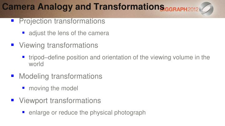 Camera Analogy and Transformations