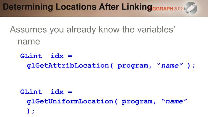 Determining Locations After Linking