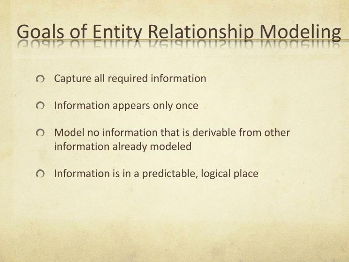 Goals of Entity Relationship Modeling