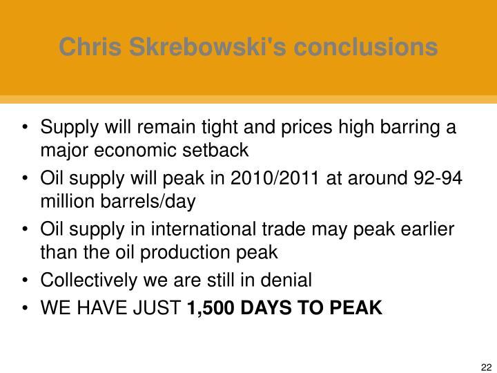 Chris Skrebowski's conclusions
