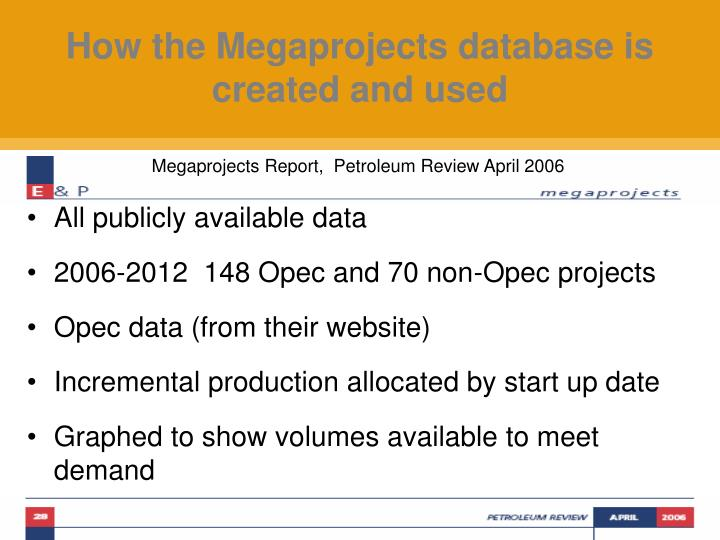 How the Megaprojects database is created and used