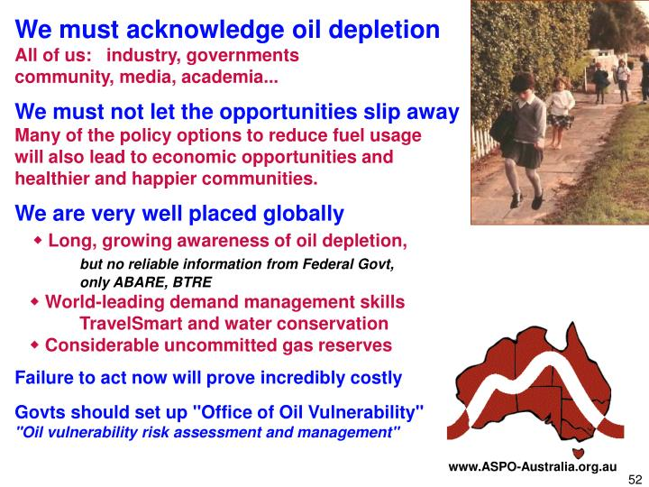 We must acknowledge oil depletion