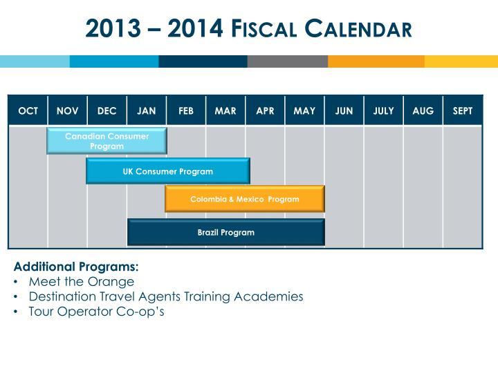 2013 – 2014 Fiscal Calendar