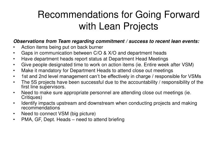 recommendations for going forward with lean projects