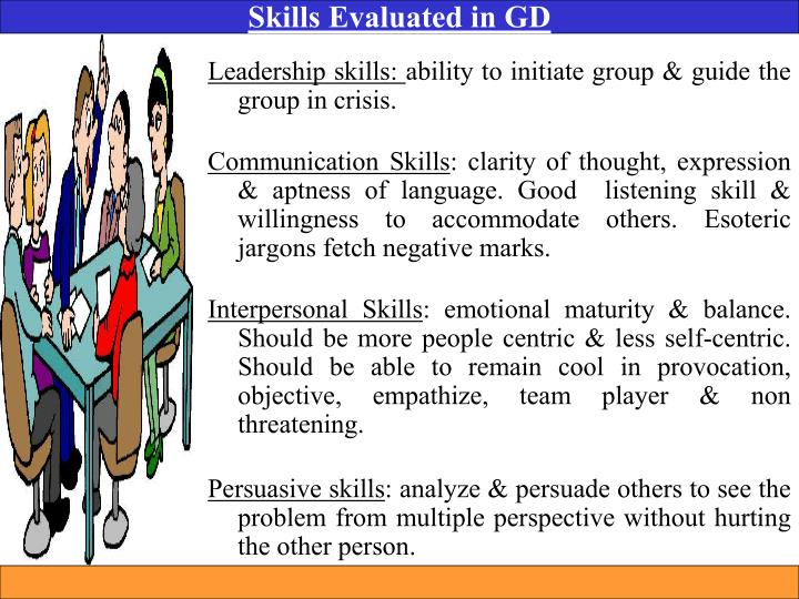 Skills Evaluated in GD