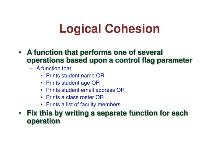 Logical Cohesion