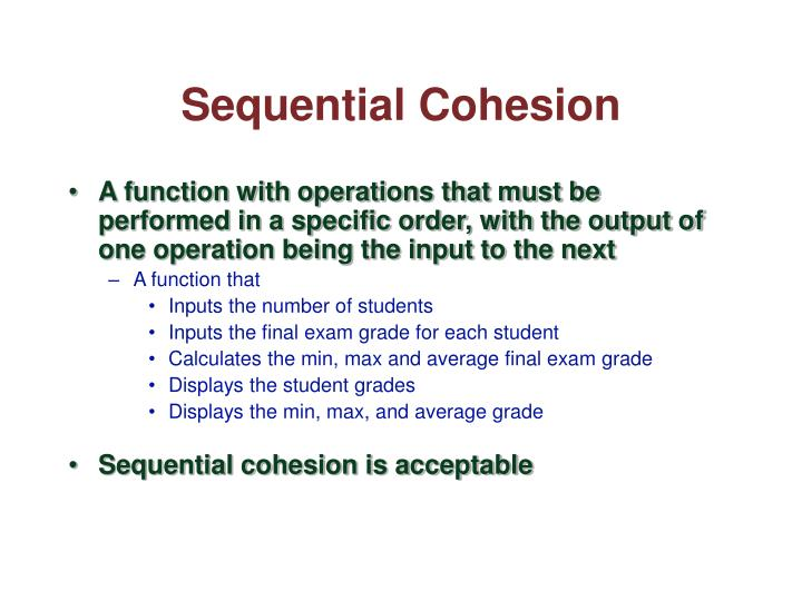Sequential Cohesion
