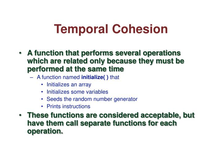 Temporal Cohesion
