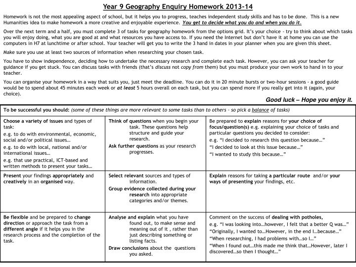 Year 9 Geography Enquiry Homework 2013-14