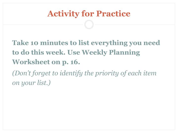 Activity for Practice