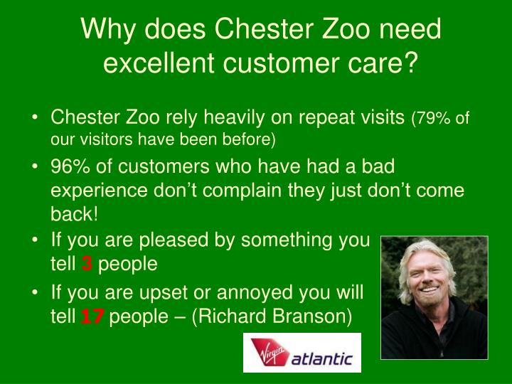 Why does Chester Zoo need excellent customer care?