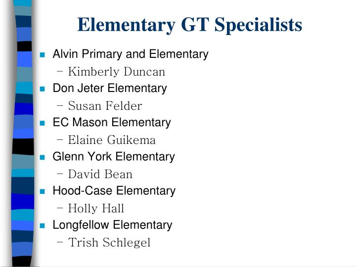 Elementary GT Specialists