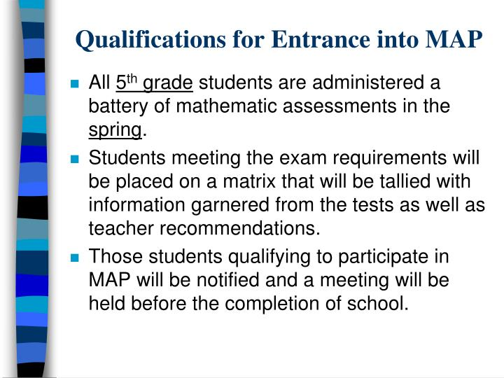 Qualifications for Entrance