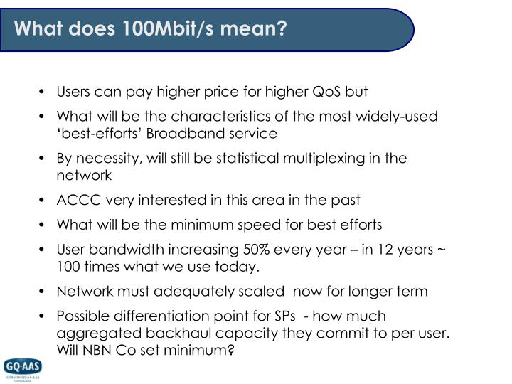What does 100Mbit/s mean?