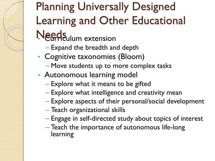 Planning Universally Designed Learning and Other Educational Needs