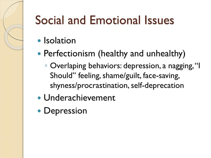 Social and Emotional Issues