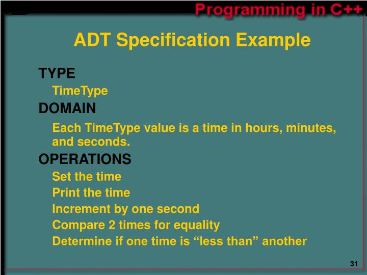 ADT Specification Example