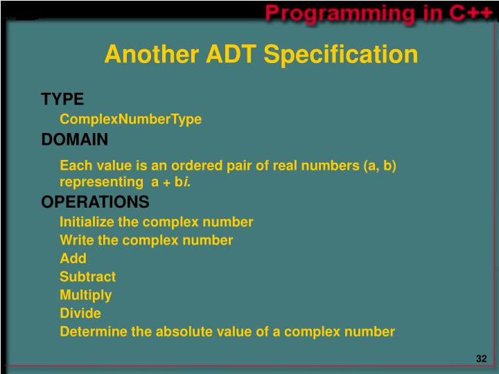 Another ADT Specification
