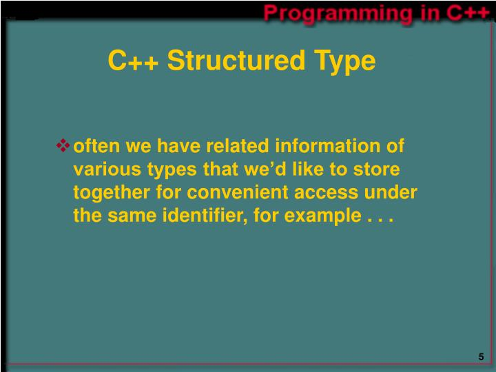 C++ Structured Type