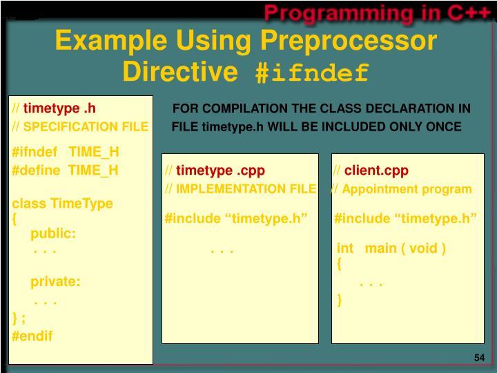 Example Using Preprocessor Directive