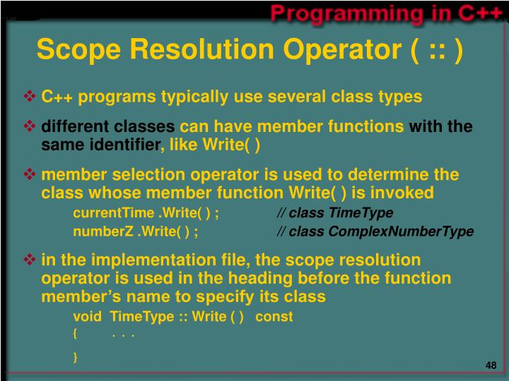 Scope Resolution Operator ( :: )