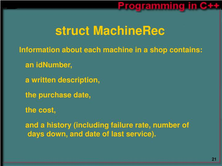 struct MachineRec