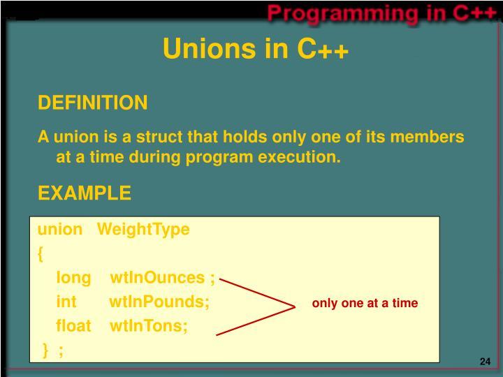 Unions in C++