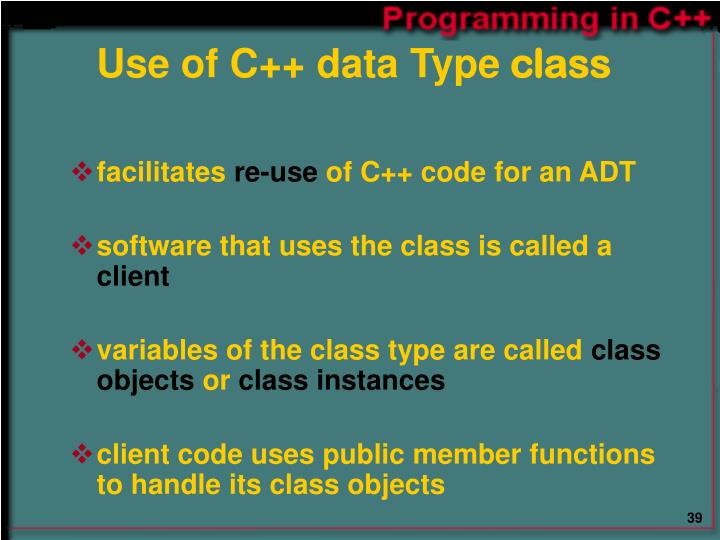 Use of C++ data Type