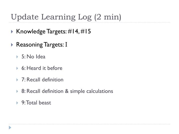 Update Learning Log (2 min)