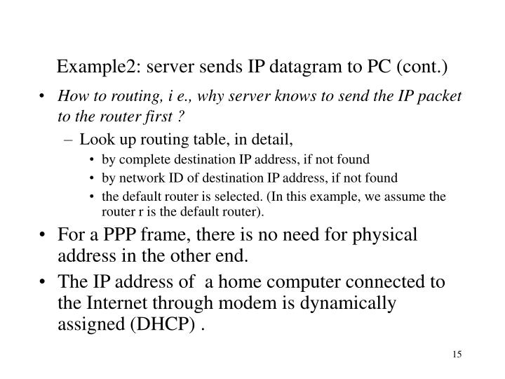 Example2: server sends IP datagram to PC (cont.)