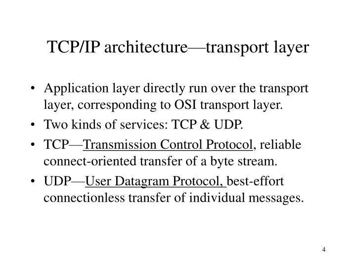 TCP/IP architecture—transport layer