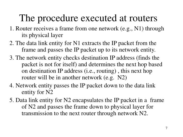 The procedure executed at routers