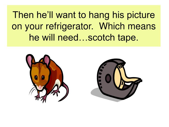 Then he'll want to hang his picture on your refrigerator.  Which means he will need…scotch tape.