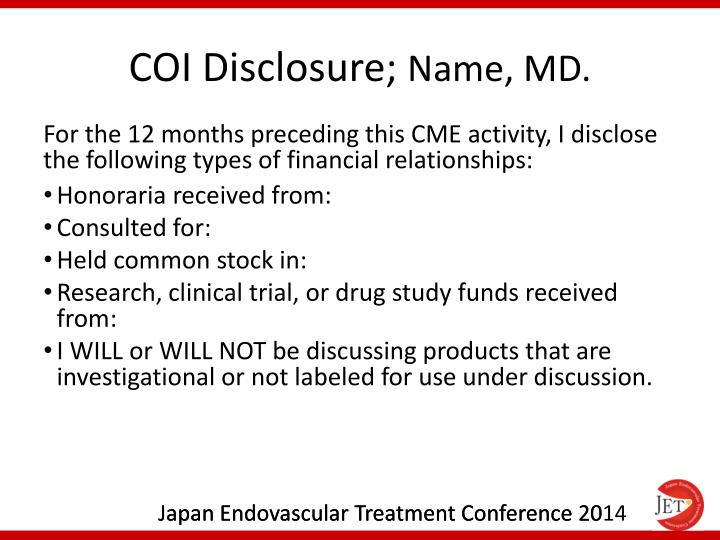 Coi disclosure name md