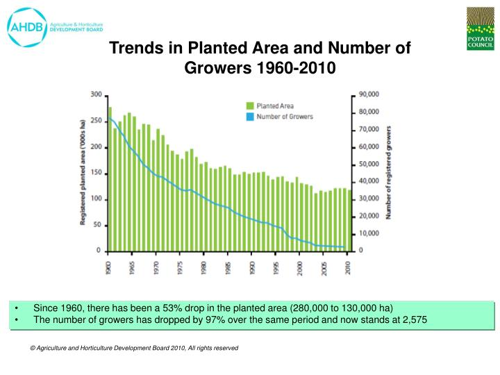 Trends in Planted Area and Number of Growers 1960-2010