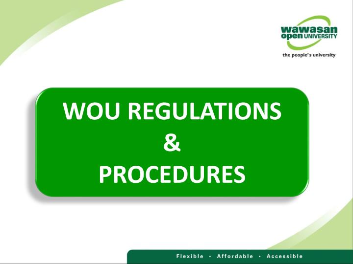 WOU REGULATIONS