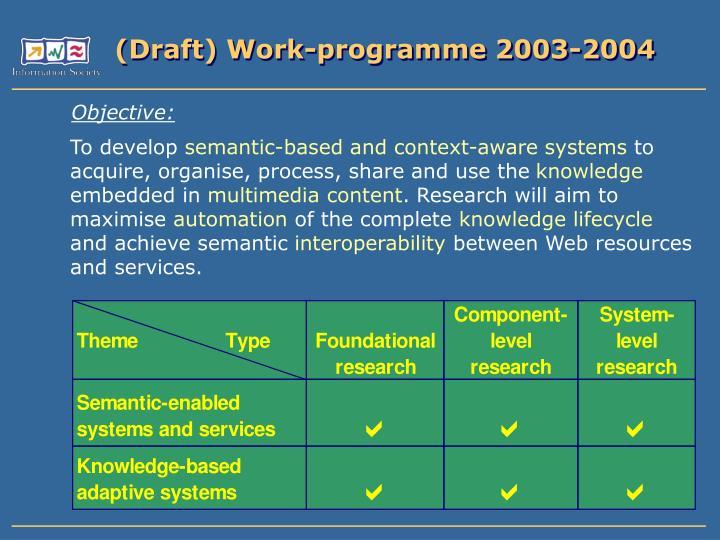 (Draft) Work-programme 2003-2004