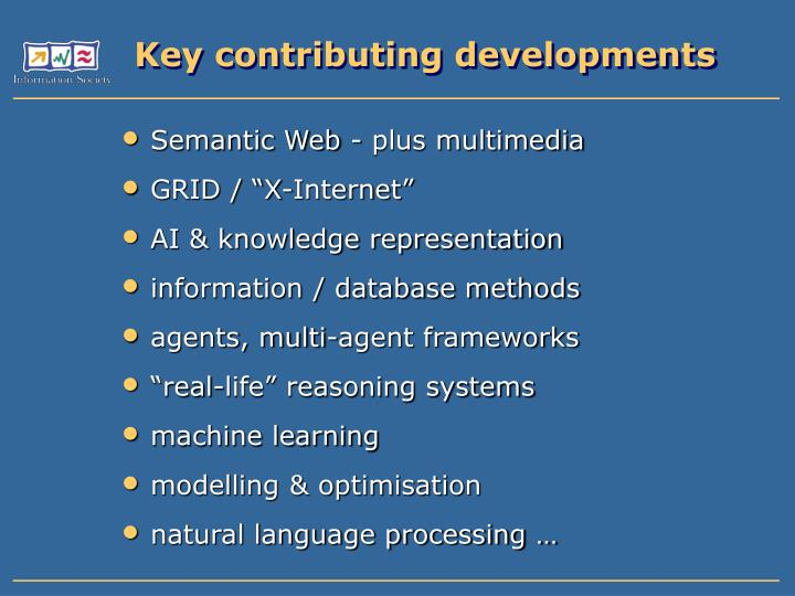 Key contributing developments