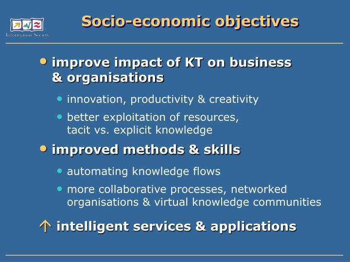 Socio-economic objectives