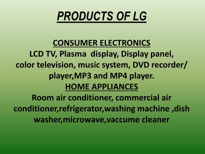 PRODUCTS OF LG