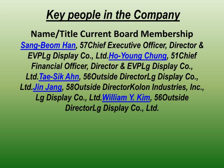 Key people in the Company