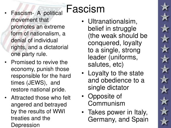 Fascism-  A  political movement that promotes an extreme form of nationalism, a denial of individual rights, and a dictatorial one party rule.